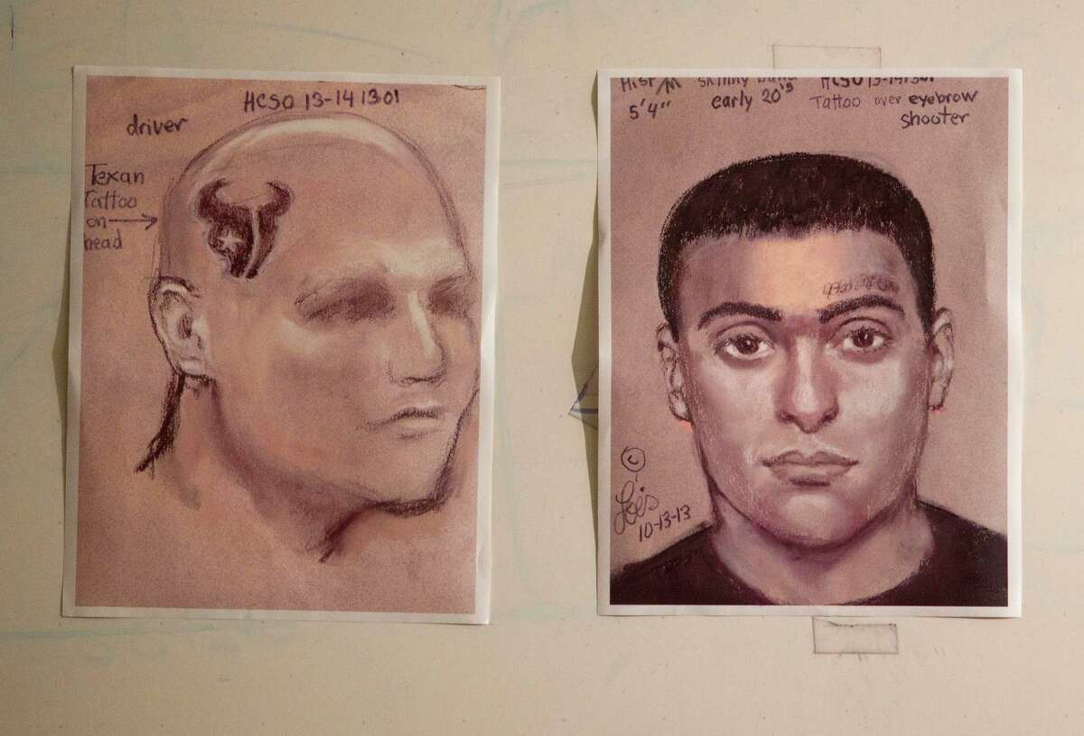 The Harris County Sheriff's Office is circulating sketches of two people thought to be involved in the robbery-homicide, which occurred about 3:30 p.m. Saturday on Houston's northwest side.