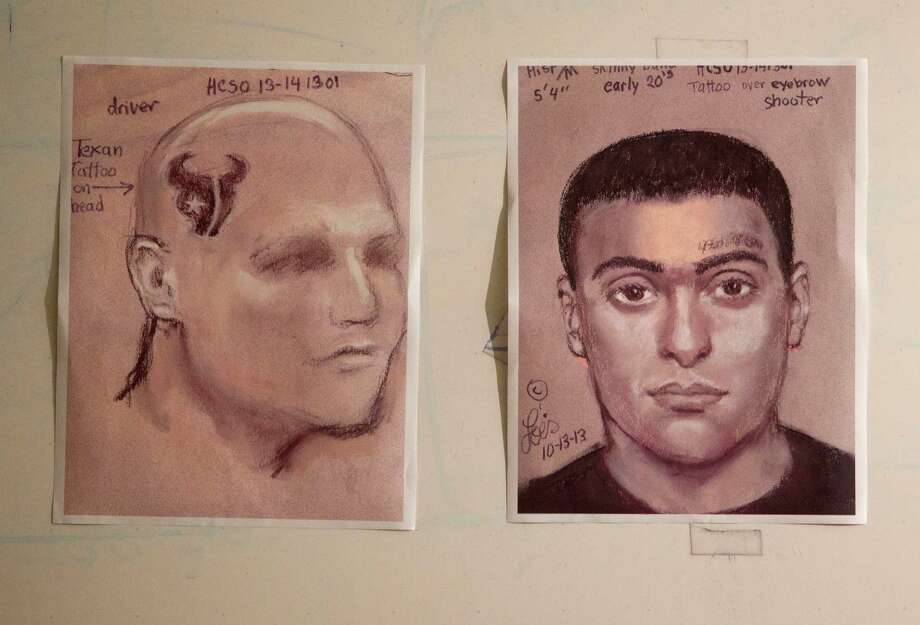 The Harris County Sheriff's Office is circulating sketches of two people thought to be involved in the robbery-homicide, which occurred about 3:30 p.m. Saturday on Houston's northwest side. Photo: Johnny Hanson, Staff / Houston Chronicle