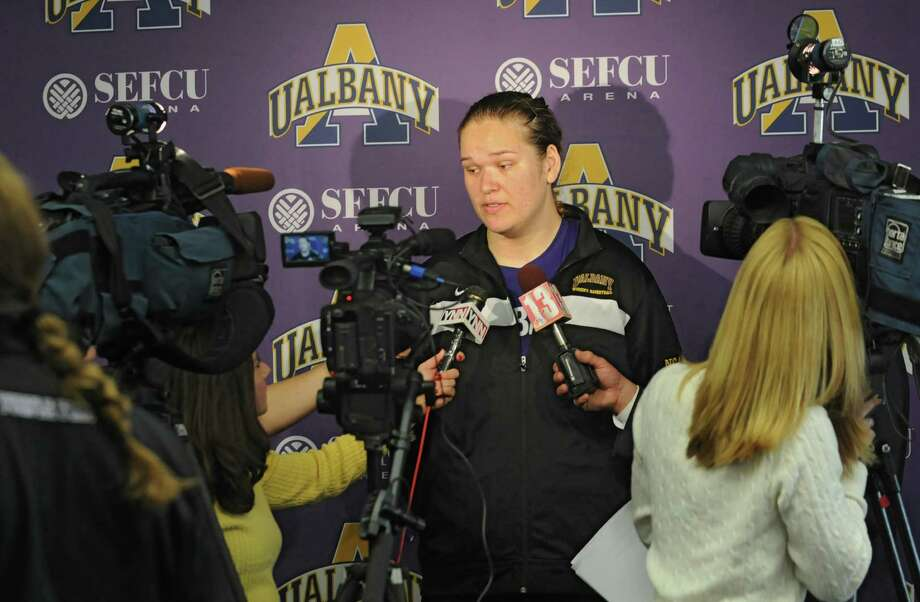 UAlbany women's junior center Megan Craig talks with the press during basketball media day at UAlbany on Tuesday, Oct. 15, 2013 in Albany, N.Y. (Lori Van Buren / Times Union) Photo: Lori Van Buren / 00024260A