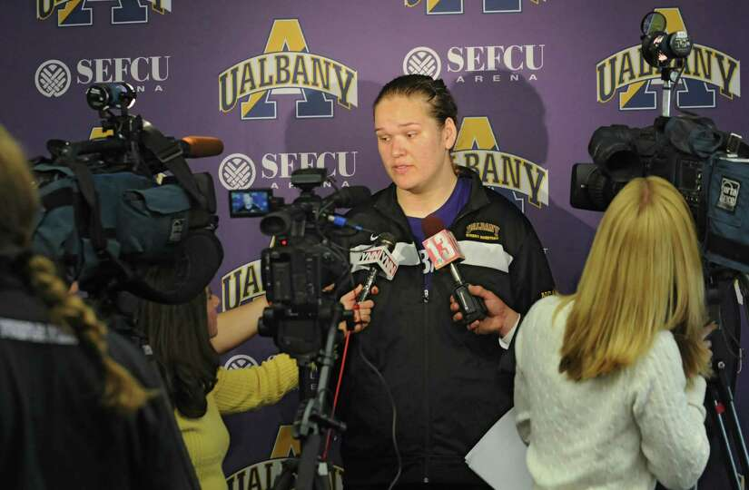 UAlbany women's junior center Megan Craig talks with the press during basketball media day at UAlban