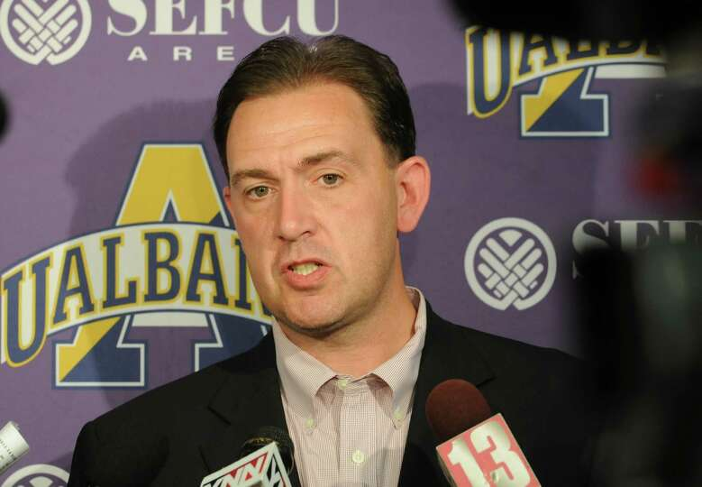UAlbany men's basketball head coach Will Brown talks with the press during media day at UAlbany on T