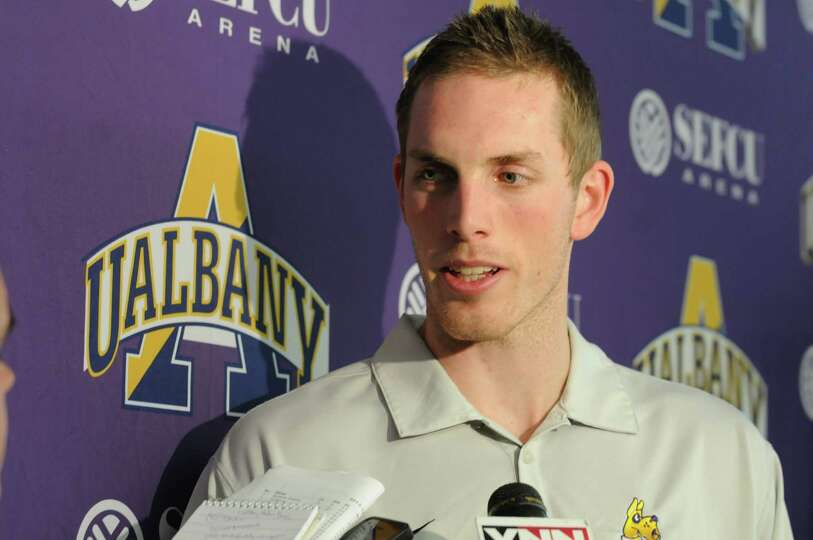 UAlbany men's senior forward Luke Devlin talks with the press during basketball media day at UAlbany