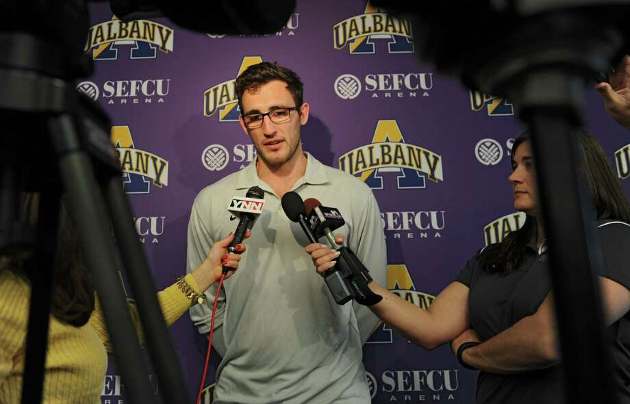 UAlbany men's junior forward Sam Rowley talks with the press during basketball media day at UAlbany on Tuesday, Oct. 15, 2013 in Albany, N.Y. (Lori Van Buren / Times Union) Photo: Lori Van Buren / 00024260A