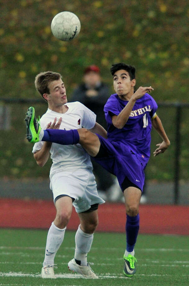 (9) In a soccer world filled with players recognized by one name only, Westhill's Filosmar Cordeiro would fit right in with the likes of Messi, Renaldino, and Beckham. Filosmar's name matches the skill level of the player who earned a spot on the Hearst Super 15 boys soccer team. Photo: Jason Rearick / Stamford Advocate