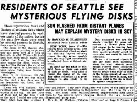 "The Maury Island Incident took place in June 1947 when Harold Dahl reported seeing six ""doughnut-shaped"" objects in the sky while on his boat. Dahl claimed that some debris fell from one of the objects killing his dog and injuring his son. Dahl took some of the debris to his employer Fred Crissman who then gave it to sci-fi magazine publisher Ray Palmer. Palmer had two US Army specialists follow up on the report and take a box of ""evidence"". However, their B-25 airplane crashed in August of 1947during a flight from Tacoma to San Francisco with the ""evidence"" on board, which spawned various conspiracy theories.