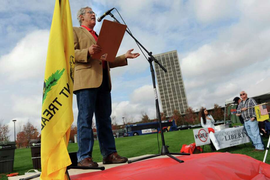 Assemblyman Stephen Katz speaks during a pro-Second Amendment Rally on Tuesday, Oct. 15, 2013, at UAlbany in Albany, N.Y. (Cindy Schultz / Times Union) Photo: Cindy Schultz / 00024181A