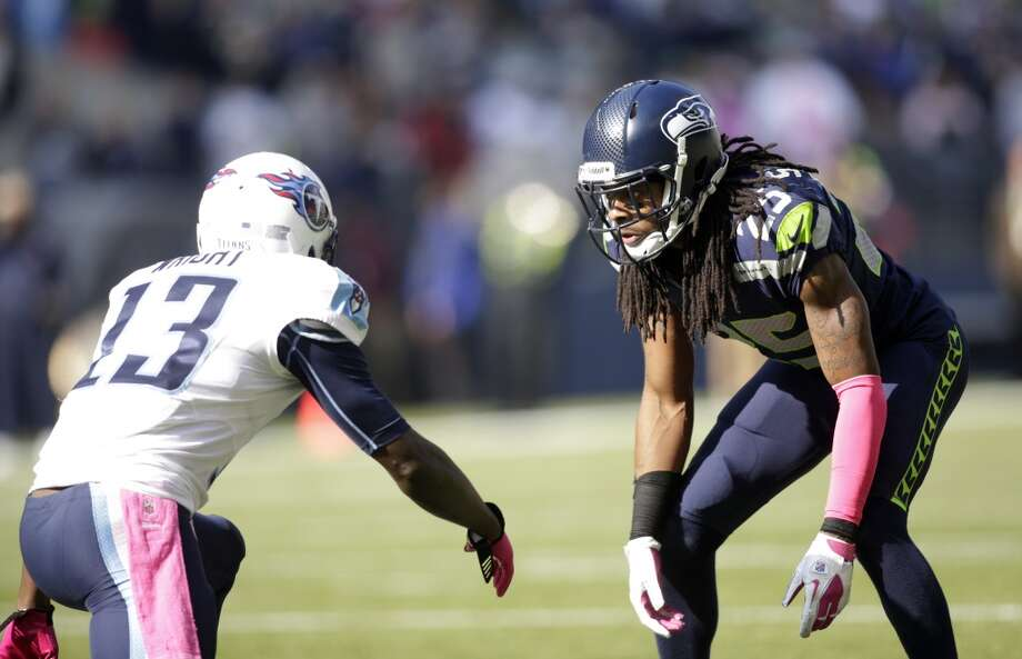 """Q: Do you see similarities between Peterson and Seahawks cornerback Richard Sherman?RW:""""Well you know Patrick Peterson -- I've only gotten to play against him a few times. But, he's just lightning fast, he just has great ball skills, just understands the game, he just can run so well. You can tell that he has a presence out on the field. Richard Sherman is obviously the same way. Richard Sherman is a little bit longer. I think that's what makes Richard so, so good. He really is a receiver out there. He's a like a 6-3 receiver that can fly, too, as well. He's got great ball skills.   """"So they're both very similar. I love that we have Richard Sherman our team, though. I know that. He's something special. Just watching him out there, going against him in practice every day, is awesome. And then we have so many other guys, too, as well, that really do step up. You think about Brandon Browner, you think Walter Thurmond, you think about Earl Thomas and Kam Chancellor, and all of the rest of the guys that I could name. You know they're all good football players and we get them ready to play."""" Photo: Scott Eklund, Associated Press"""