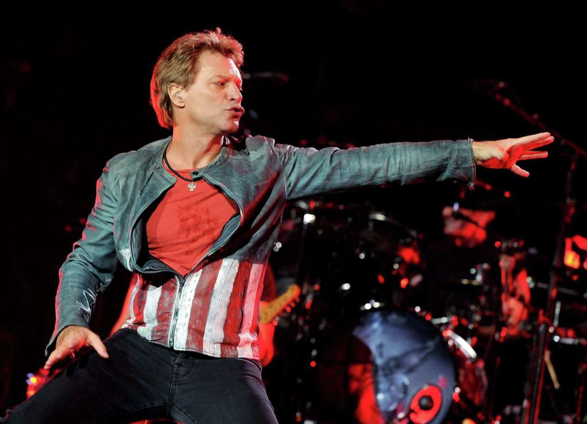 Musician Jon Bon Jovi performs at The Staples Center on October 11, 2013 in Los Angeles, California.