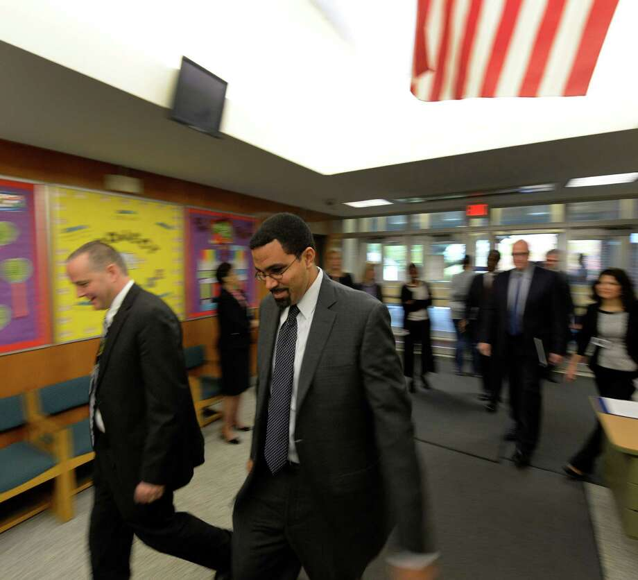 Commissioner of Education John B. King Jr. enters School 2 Tuesday morning, Oct. 15, 2013, in Troy, N.Y.    (Skip Dickstein/Times Union) Photo: SKIP DICKSTEIN / 00024249A