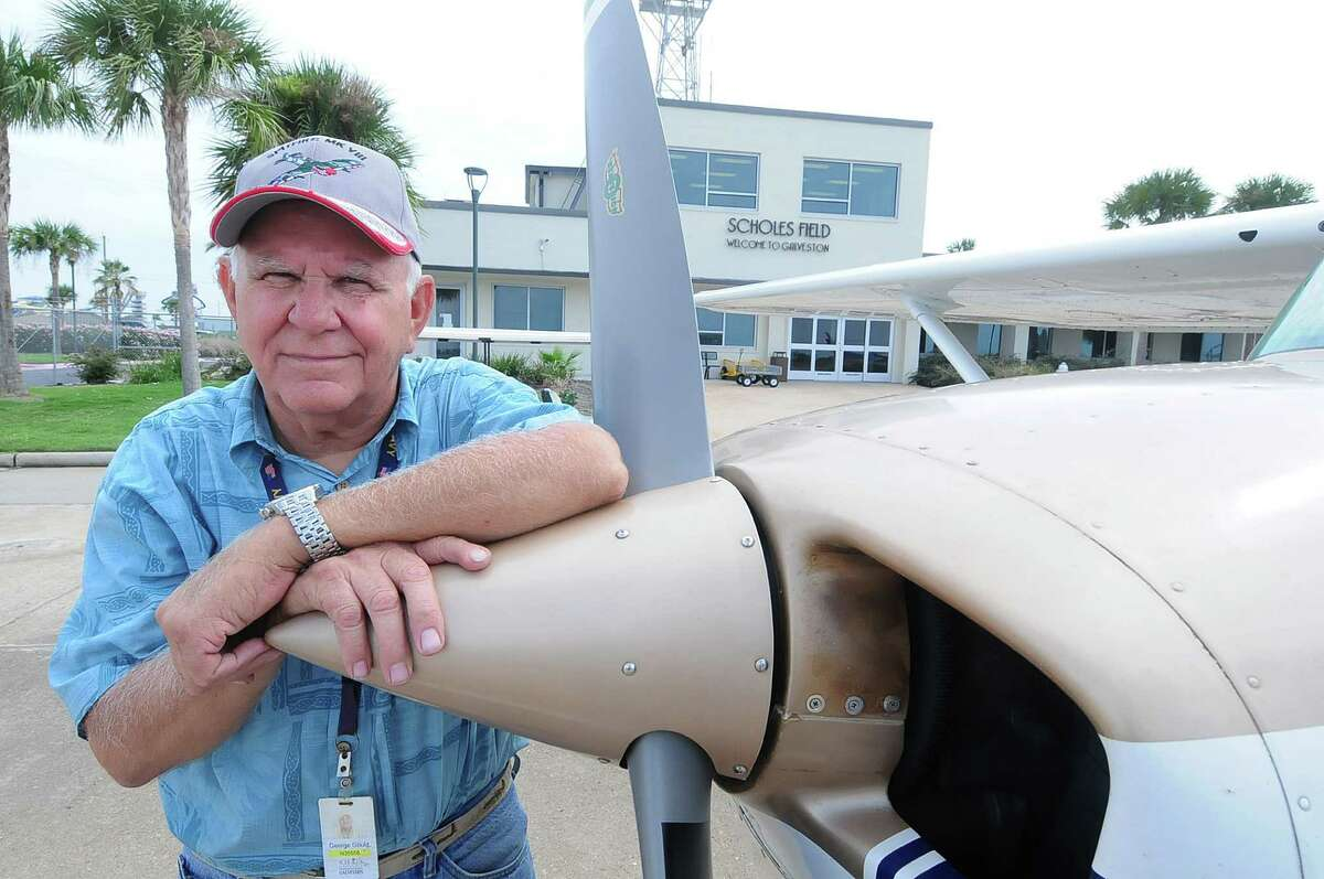 """George Gould, with his 1978 Cessna Super Skyhawk at Scholes Field in Galveston, sees the racing proposal as ridiculous. """"Nobody out here would embrace having this happen. Period,"""" he says."""