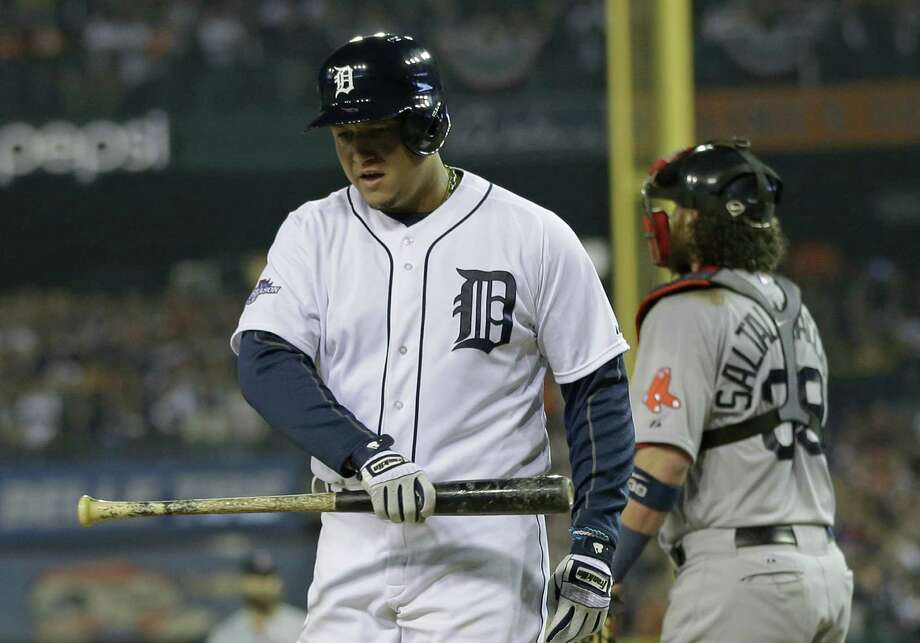 Detroit's Miguel Cabrera reacts after striking out in the eighth inning during Game 3 of the ALCS. Photo: Matt Slocum / Associated Press