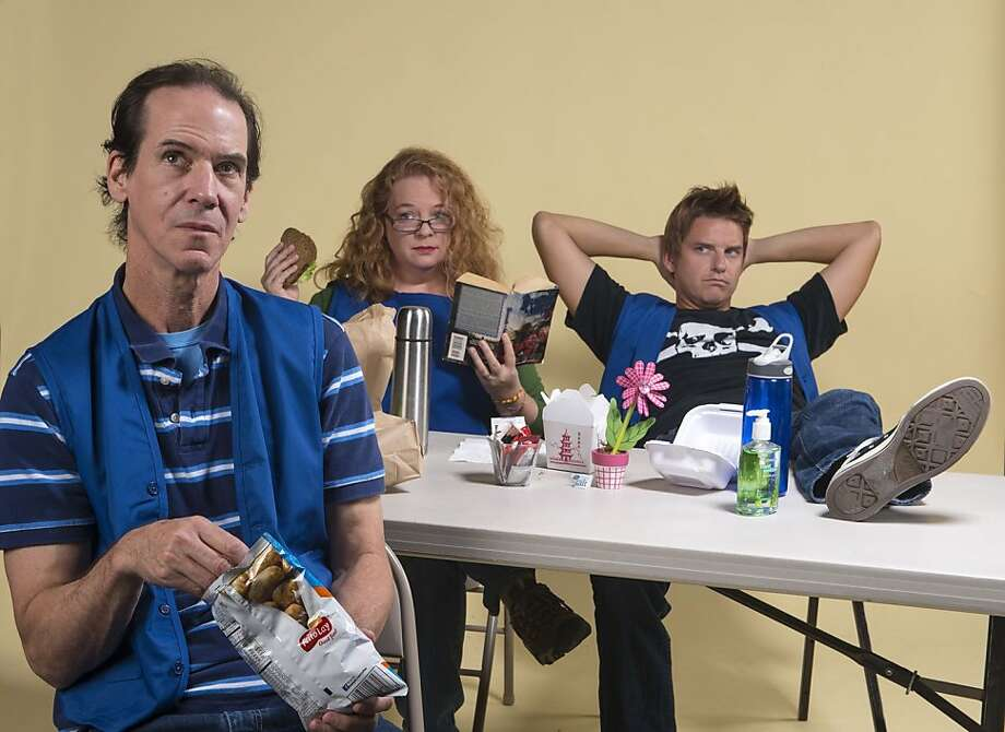 l-r, Will (Robert Parsons), Pauline (Gwen Loeb), and Leroy (Patrick Russell) have lunch in the Hobby Lobby break room in Aurora Theatre Company's Bay Area Premiere of A Bright New Boise, playing November 8-December 8 at the Aurora Theatre, 2081 Addison Street., Berkeley. ($32-60). 510-843-5822. www.auroratheatre.org. Photo: David Allen. Photo: David Allen