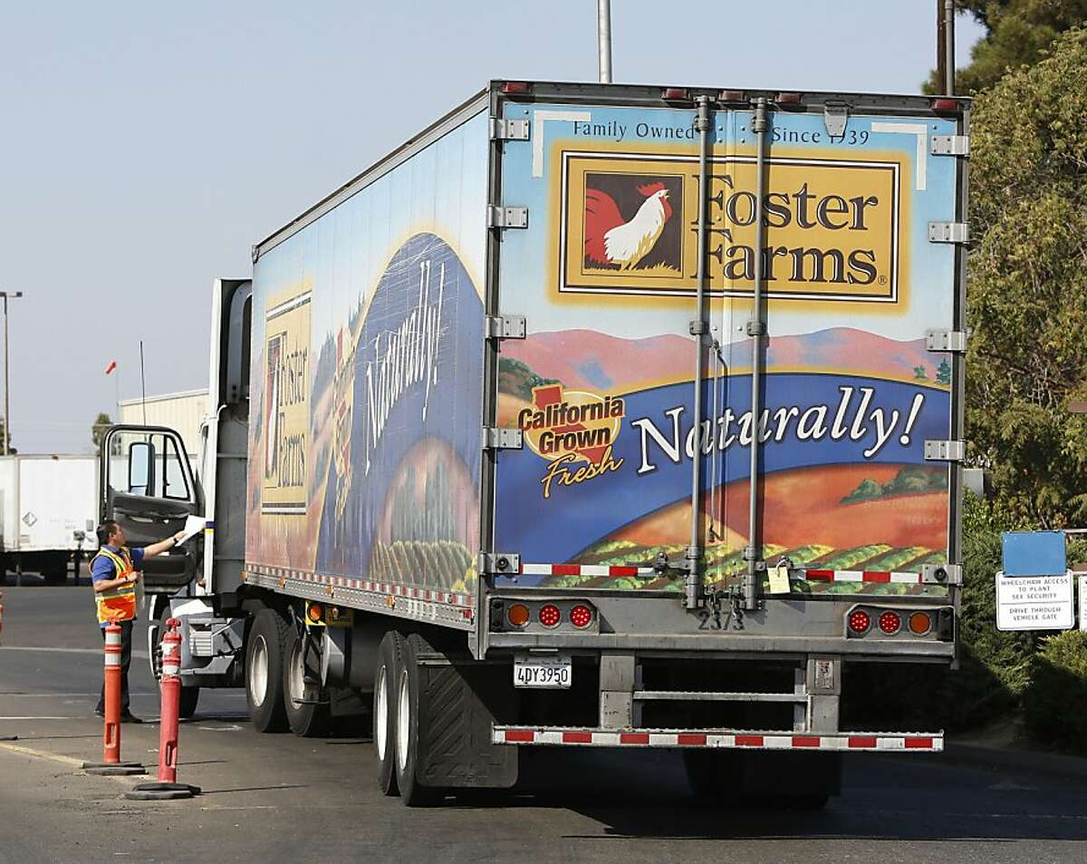A truck enters the Foster Farms processing plant on Thursday, Oct. 10, 2013, in Livingston, Calif.