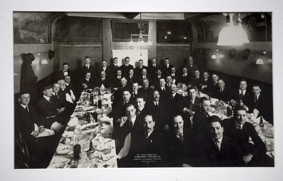 A picture of a trawler's meeting held February 21, 1921 in Fisherman's Wharf hangs on the wall at Capurro's in San Francisco.
