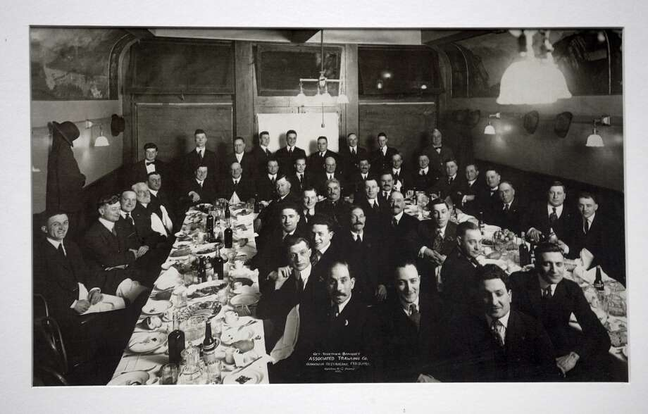 A picture of a trawler's meeting held February 21, 1921 in Fisherman's Wharf hangs on the wall at Capurro's in San Francisco. Photo: Norton & Co Photo