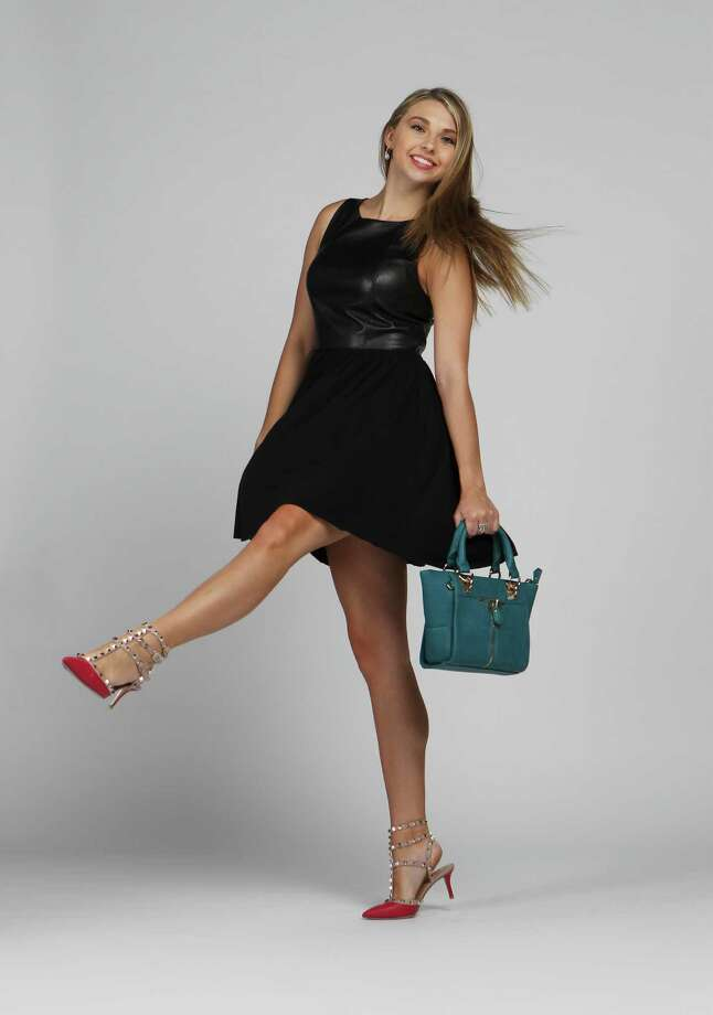 Downsized handbags and low-heeled shoes are fall's rage as seen in this teal structured bag with a hidden cross body strap by Daniel Nicole, $78, at Julian Gold and these hot pink and embellished Valentino gladiator heels, $945, at Neiman Marcus at the Shops at La Cantera. The dress by Bailey 44, $280, features a black leather top with an attached jersey skirt from Saks Fifth Avenue at North Star Mall. Photo: Kin Man Hui, San Antonio Express-News / ©2013 San Antonio Express-News