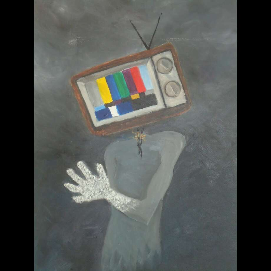 """Kemi Yemi-Ese's """"Lost Signal,"""" oil on canvas, 24 inches x 20 inches, 2010"""