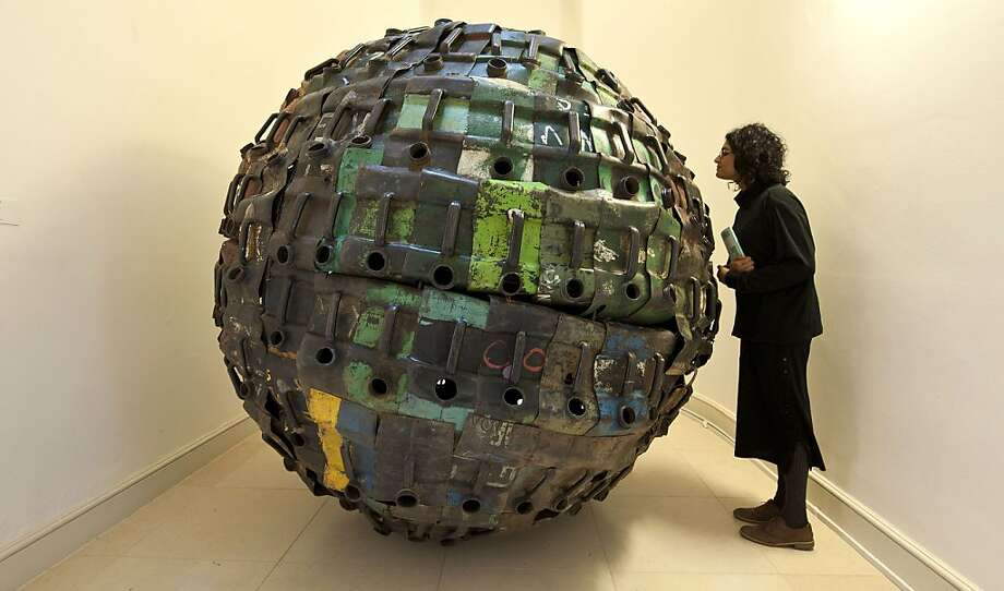Says it all: Beninese artist Romuald Hazoum calls this work, on display at the Contemporary African Arts 