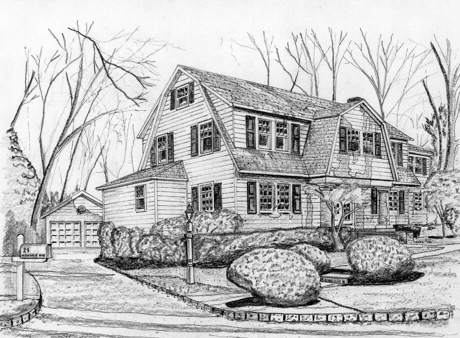 Long-time Greenwich resident Bobbie Hopkins lived with her husband Rich for 44 years in their home on Hendrie Ave., which is depicted in the drawing above. Two years ago, however, the couple gave up their beloved home and moved into Edgehill, a retirement home in Stamford. Photo: Anne W. Semmes / Greenwich Citizen