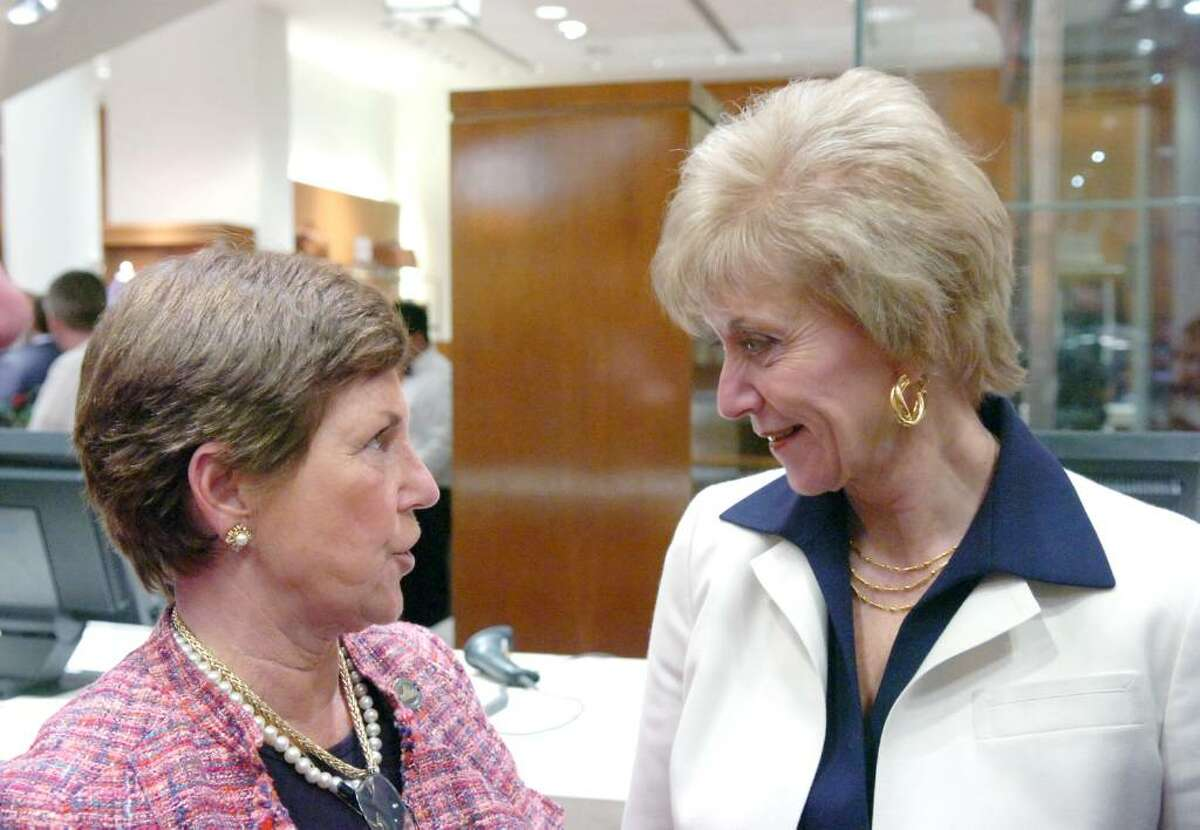 State Rep. Livvy Floren chats with Linda McMahon before the roast of former Republican Congressman Christopher Shays at Richards on Greenwich Avenue Wednesday, January 27, 2010. Gov. M. Jodi Rell, state Sen. Scott Frantz, state Reps. Fred Camillo and Lile Gibbons, First Selectman Peter Tesei, Ned Lamont, McMahon and Bill Mitchell were all on hand for the evening which benefited SoundWaters, an educational program aimed at protecting Long Island Sound.