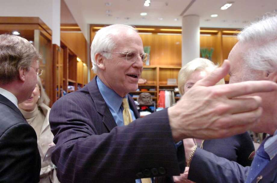 Former Republican Congressman Christopher Shays greets guests before being roasted at Richards on Greenwich Avenue Wednesday, January 27, 2010.  Gov. M. Jodi Rell, state Sen. Scott Frantz, state Reps. Fred Camillo, Livvy Floren and Lile Gibbons, First Selectman Peter Tesei, Ned Lamont, Linda McMahon and Bill Mitchell were all on hand for the evening which benefited SoundWaters, an educational program aimed at protecting Long Island Sound. Photo: Keelin Daly / Greenwich Time