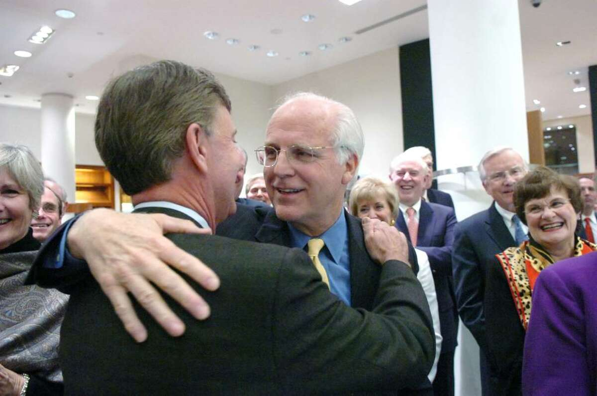 After roasting Christopher Shays, Ned Lamont hugs the longtime Republican Congressman who was roasted and toasted throughout the evening at Richards on Greenwich Avenue Wednesday, January 27, 2010. Lamont drew a parallel between Shays and Brett Favre questioning their retirement terminology. Gov. M. Jodi Rell, state Sen. Scott Frantz, state Reps. Fred Camillo, Livvy Floren and Lile Gibbons, First Selectman Peter Tesei, Lamont, Linda McMahon and Bill Mitchell were all on hand for the evening which benefited SoundWaters, an educational program aimed at protecting Long Island Sound.