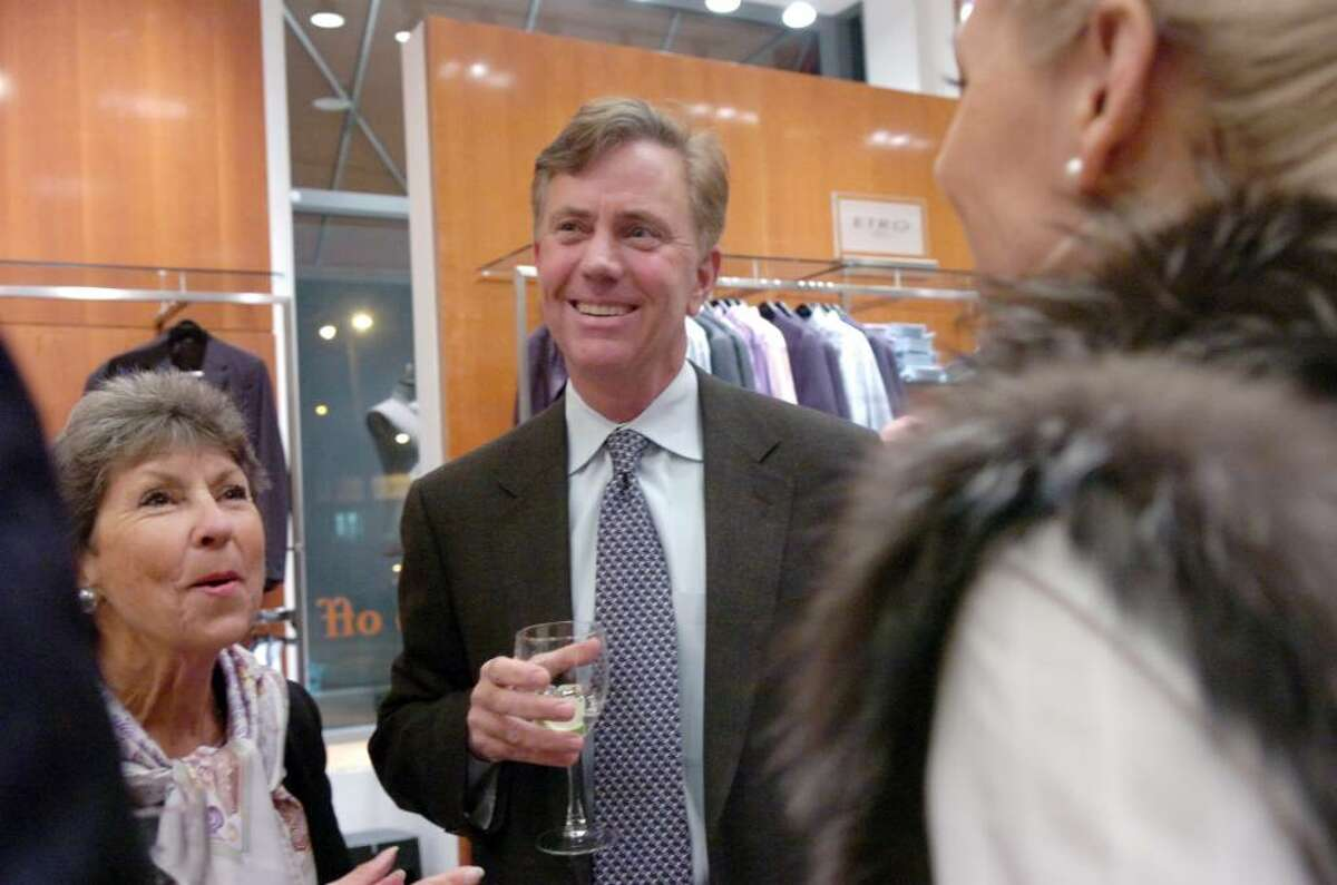 Ned Lamont and Susie Baker socialize before roasting former Republican Congressman Christopher Shays at Richards on Greenwich Avenue Wednesday, January 27, 2010. Gov. M. Jodi Rell, state Sen. Scott Frantz, state Reps. Fred Camillo, Livvy Floren and Lile Gibbons, First Selectman Peter Tesei, Lamont, Linda McMahon and Bill Mitchell were all on hand for the evening which benefited SoundWaters, an educational program aimed at protecting Long Island Sound.