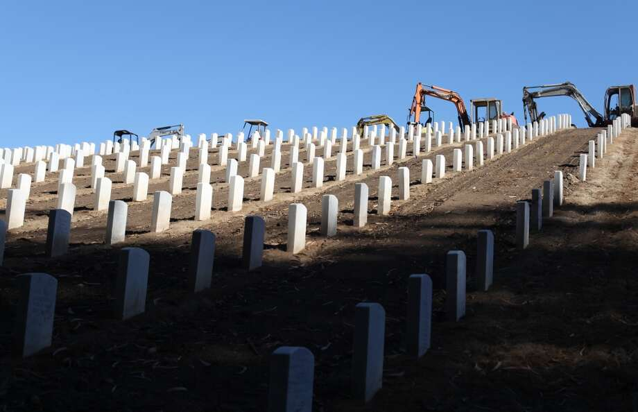 Graves, which are being renovated to stabilize the headstones, are seen in San Francisco National Cemetery on October 2, 2013 in San Francisco, Calif. Photo: Pete Kiehart, The Chronicle