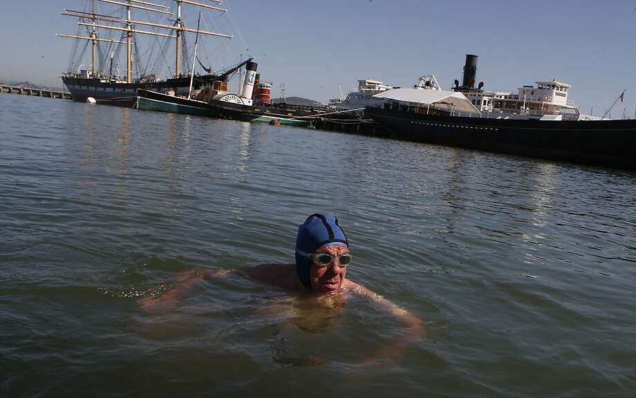 Dolphin Club caretaker Lou Marcelli finishes his morning swim in May 2011. Photo: Liz Hafalia, The Chronicle