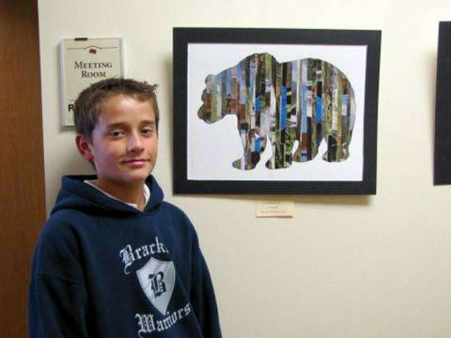 Lucas McCrum, a Bracken Christian School 7th grader, shows the artwork he created for the Bulverde/Spring Branch Library's One Book/One Community program. Photo: Courtesy