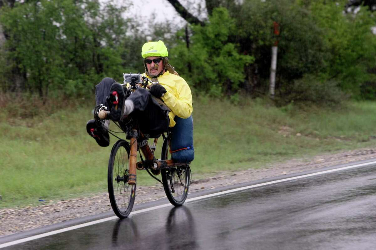 Dug Shelby of California is in the middle of a 5,000-mile bicycle ride across the country to raise awareness about human trafficking. Riding a recumbent bamboo bicycle custom-made in Brazil, Shelby passed through San Antonio before stopping in Kyle for the evening.