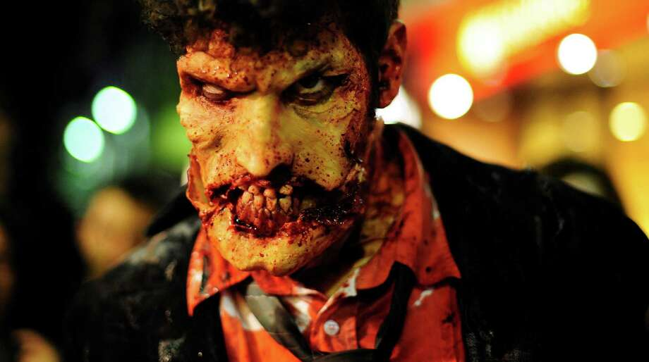 A man dressed as a zombie participates in the Zombie Walk in Sitges, Spain, Saturday, Oct. 9, 2010. Photo: Manu Fernandez, AP / AP
