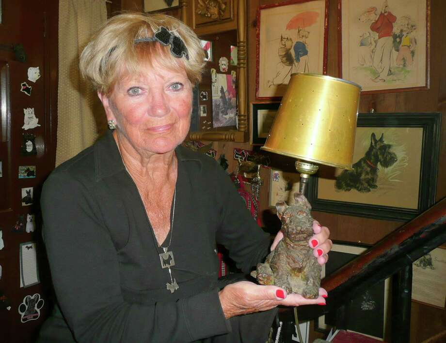 Carolyn Antonik traces her love of Scotties back to her childhood, which was lit by alamp with a cast iron Scottie base. Photo: Anne W. Semmes / Greenwich Citizen