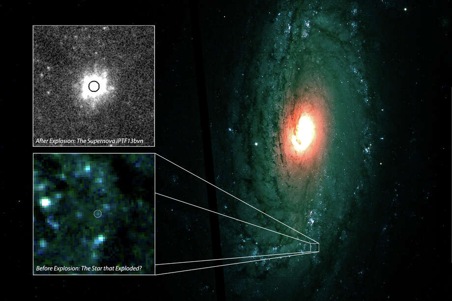 The bottom inlay shows the Hubble image prior to the supernova. The top inlay shows the star a day after exploding, as captured by reseaerchers from Caltech and Las Cumbres Observatory Global Telescope Network. The main image shows where in this neighboring galaxy the supernova occurred.
