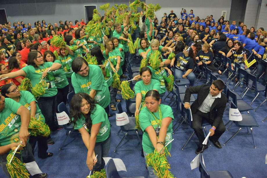Teachers from Harlandale ISD take part in Convocation, an annual pep rally the district has for teachers and staff. Harlandale was named a Top Workplace for the fourth consecutive year. Photo: Courtesy Harlandale ISD