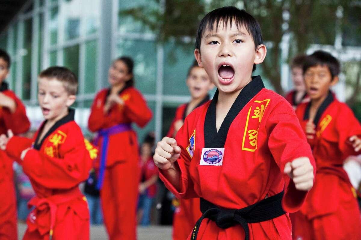 Nathaniel Lam shows off his self-defense skills at a past Korean Festival.