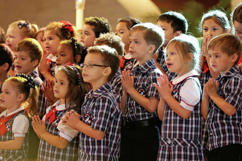 Children in prekindergarten and kindergarten at St. Laurence Catholic School performed during a celebration of Grandparent's Day. Photo: Courtesy