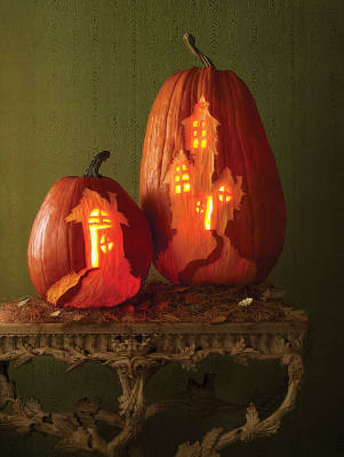 Haunted House pumpkins from  Martha Stewart's Carve-by-Color Pumpkins. Photo: October Issue Of Martha Stewart Living