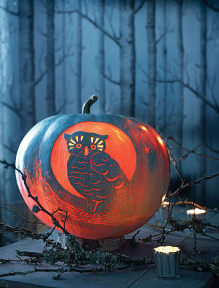 Night Owl Pumpkin, one of Martha Stewart's Carve-by-Color Pumpkins. Photo: October Issue Of Martha Stewart Living