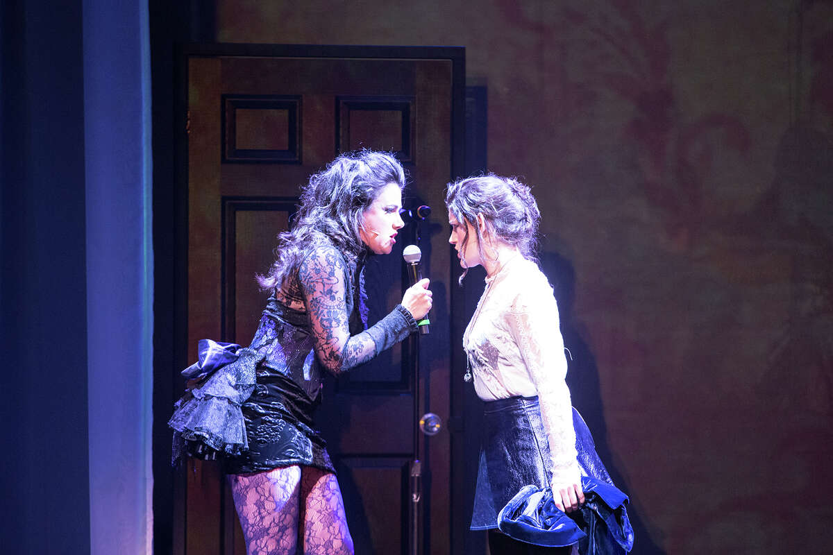 """Emma (Natalie Charle Ellis, left,) lashes out at Lizzie (Carrie Manolakos) in the musical """"Lizzie."""""""