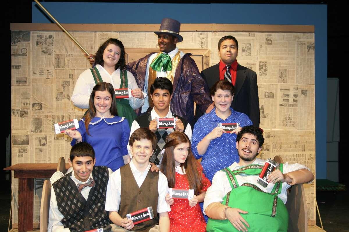 "The cast of Mayde Creek High School's ""Willy Wonka"" includes from bottom left to top: Christian Gonzalez, Scott Lathrom, Sarah Nielsen, Jose Chapa, Nickie Schmitz, Kekoa Andrus, Hannah Finney, Kalynn Jensen, Williamson Turner and Justin Tran."