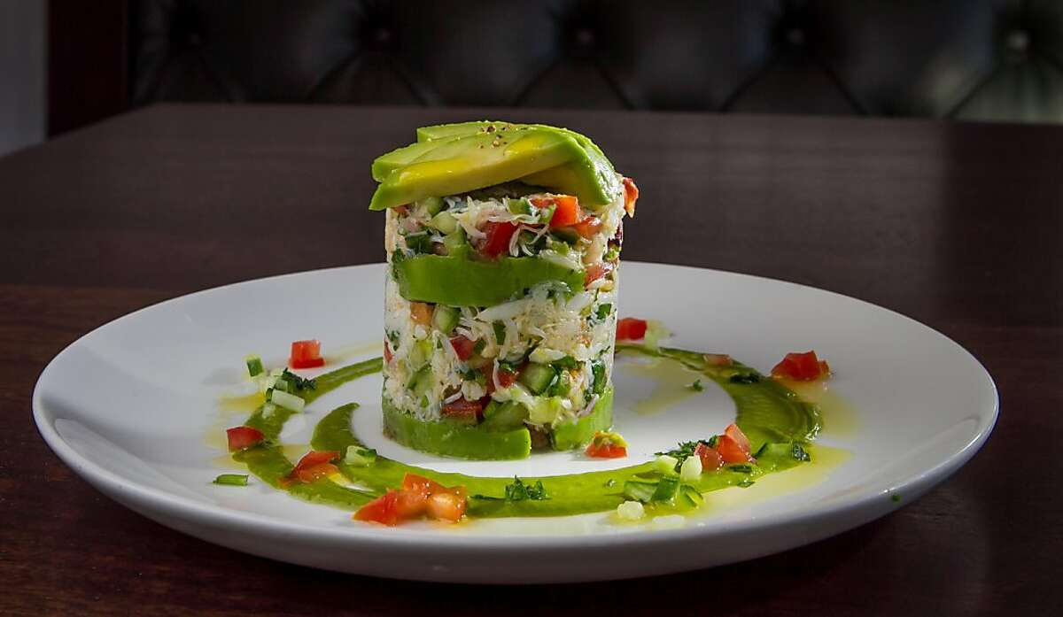 The Dungeness Crab-Meat Tower at Pesce in San Francisco, Calif., is seen on October 14th, 2013.
