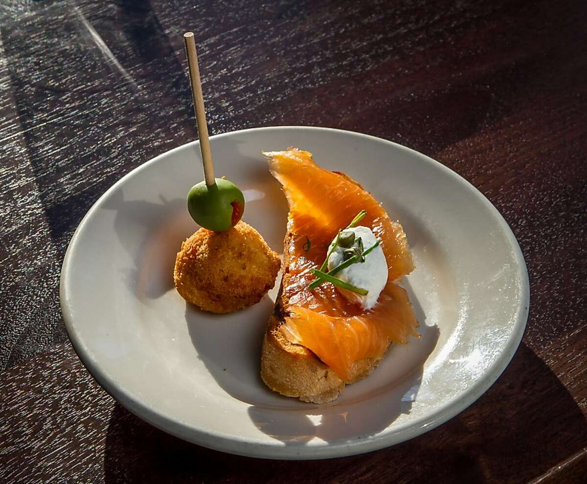 The Salt Cod Fritter and the Smoked Salmon Cicheti at Pesce in San Francisco, Calif., is seen on October 14th, 2013.