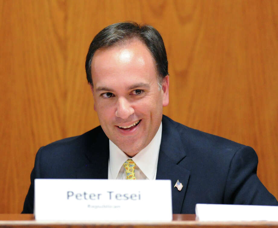 Incumbent Republican First Selectman Peter Tesei smiles during the League of Women Voters of Greenwich debate between the candidates for first selectmen at Greenwich Town Hall, Wednesday night, Oct. 16, 2013. Photo: Bob Luckey / Greenwich Time