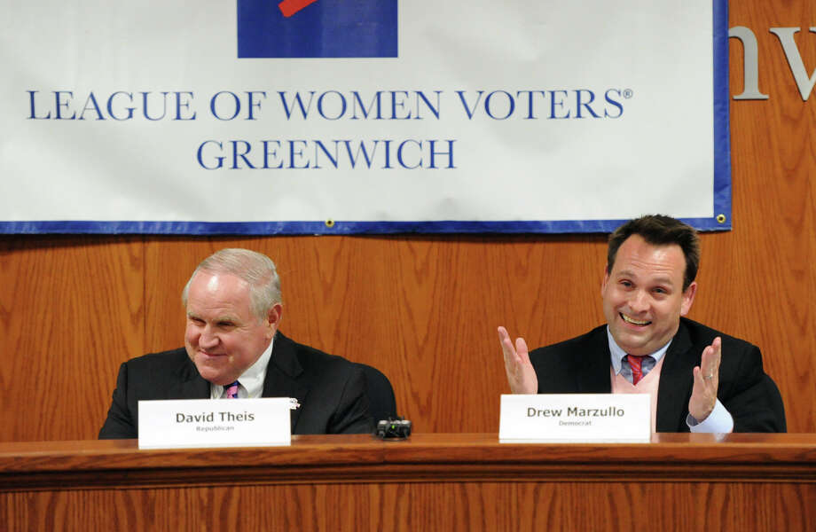 Incumbent Republican Selectman David Theis, left, and incumbent Democratic Selectman, Drew Marzullo, at the start of the League of Women Voters of Greenwich debate between the candidates for selectmen at Greenwich Town Hall, Wednesday night, Oct. 16, 2013. Photo: Bob Luckey / Greenwich Time