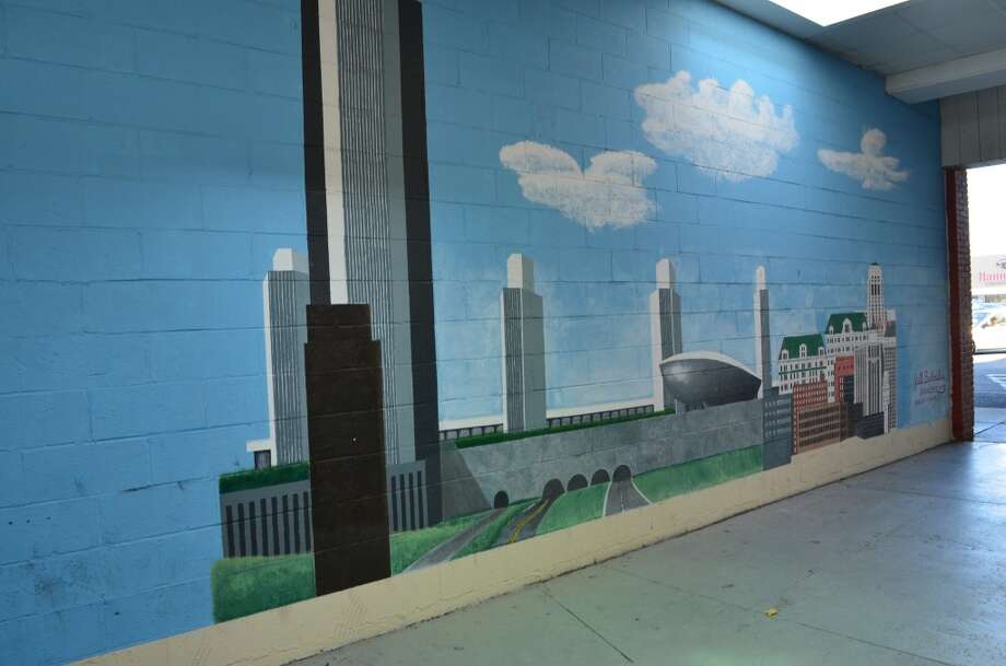 Mural of downtown Albany in Hannaford Plaza Photo: Audrey Goodemote