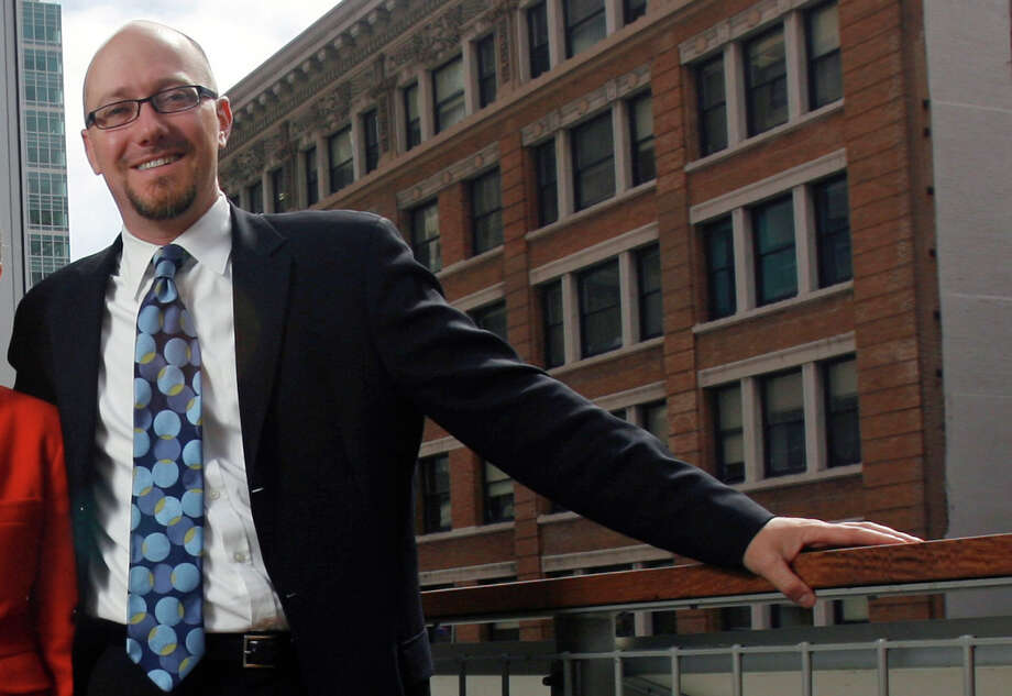 SPUR (San Francisco Planning and Urban Research) director Gabriel Metcalf  on the top floor of his new building at 654 Mission Street in San Francisco. Photo: Hardy Wilson, The Chronicle / Hardy Wilson / SFC