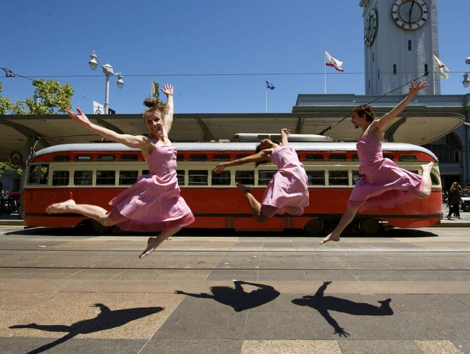 Trolley Dances: The folks at Epiphany Productions will be spicing up your Muni rides on Sunday, with nearly four hours of dancing. Pay your Muni fare and watch, as performers from Jean Isaacs San Diego Dance Theater, Tezkatlipoka Aztek Dance and Drum, Kim Epifano's Epiphany Productions and more celebrate 10 years of transit dance in San Francisco. Tours run every 45 minutes, from 11 a.m. to 2:45 p.m. Sunday. The tours start at the Market Street Railway Museum, south of Embarcadero Plaza.  www.epiphanydance.org Photo: Andy Mogg
