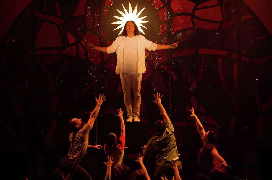 "Jake Stern (center) is playing Jesus in the new U.S. tour of ""Godspell"" that is being launched at the Shubert in New Haven on Friday, Oct. 25. Photo: Contributed Photo / Connecticut Post Contributed"