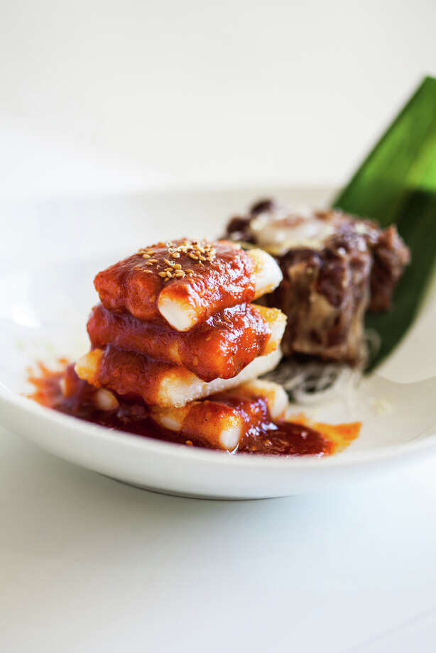Oxtail with stacked rice cakes. (Photo: Julie Soefer)